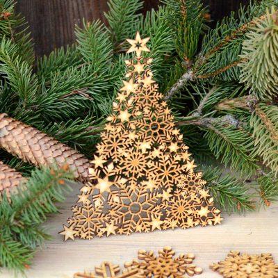 Choinka śnieżynkowa - dekoracje i ozdoby świąteczne