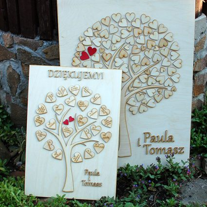 Drzewko z serduszkami - indywidualne podziękowania dla rodziców