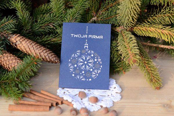 Kartka świąteczna firmowa - ze śnieżynkami