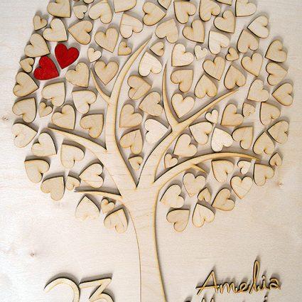 Księga gości – drzewko z serduszkami wycinane laserowo