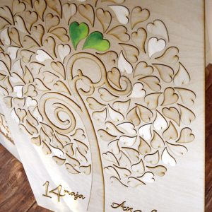 Księga gości – drzewo z listkami wycinane laserowo
