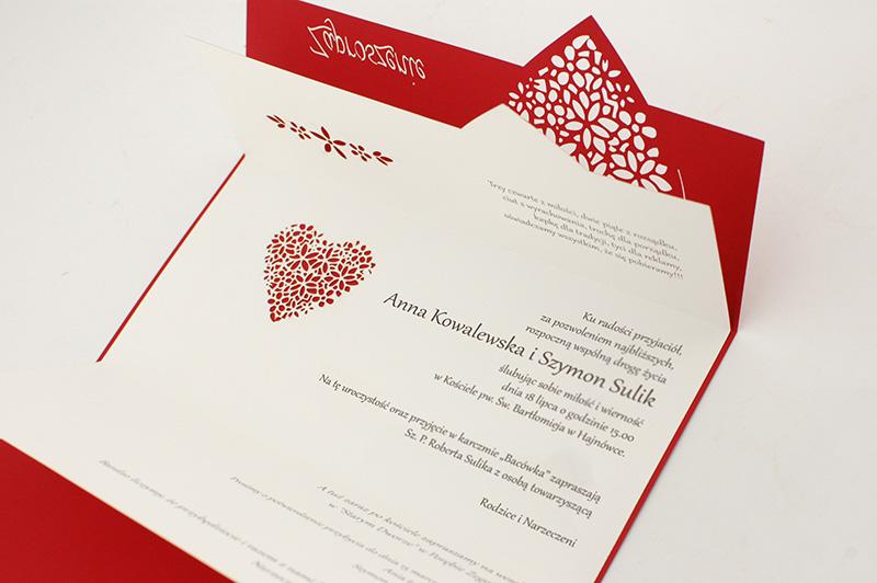 Zaproszenia ślubne Wycinane Laserowo Z Wielkim Sercem
