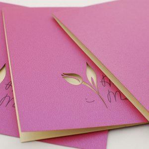 Zaproszenia ślubne wycinane laserowo - z tulipanem