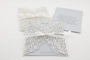 Zaproszenia ślubne z motywem róż wycinane laserowo dla Sylwii i Konrada